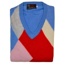 100% Lambs Wool V-neck Jumper - Long Sleeve - Vintage , Retro