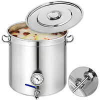 50L Stock Pot Home Brew Kettle Brewing Beer w/Thermometer Lid Stainless Steel