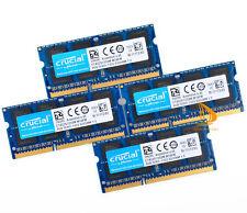 Crucial 32GB RAM 4x 8GB 2Rx8 PC3-10600S DDR3-1333Mhz SODIMM Laptop Memory CL9