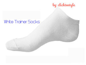 3 PAIRS WOMEN WHITE BREATHABLE QUALITY TRAINER LINER ANKLE SOCKS UK SIZE 6-11