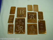 11 x JR Merkenthaler Monogramme, Kupfer Schablonen, Stencils, Patrons broder
