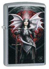 "Zippo Lighter ""Anne Stokes - Dragon Warrior"" No 49096 new - street chrome finish"