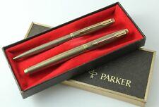 Parker Vintage 75 Flattop Vermeil Cisele Fountain Pen & Ballpoint Set