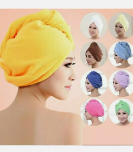 New Soft 100% Cotton Hair Wrap Head Towel Turban Twist Buttoned Quick Dry