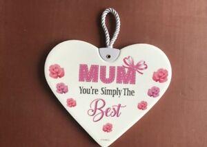 Simple the best Mum ceramic heart gift hanging plaque