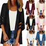 Women Mesh Panel 3/4 Bell Sleeve Solid Chiffon Tops Loose Kimono Cardigan New