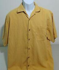 Tommy Bahama Gold Short Sleeve Silk Blend Hawaiian Shirt Mens Medium