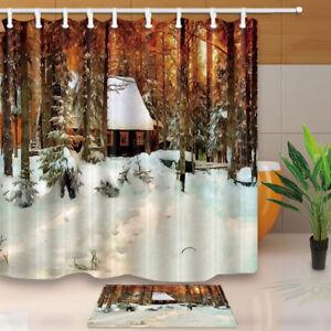 Winter Log Cabin In Snow Oil Painting Bathroom Waterproof Fabric Shower Curtain