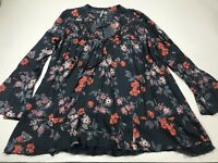 Free People Floral Semi Sheer Long Sleeve Boho Blouse Top Shirt Tie Neck Large L