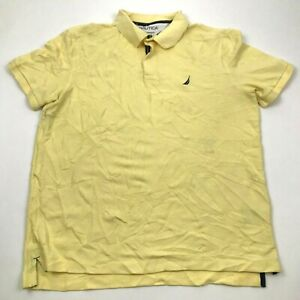 Nautica Polo Shirt Size Large L Yellow Short Sleeve Ringer Collared Mens Adult