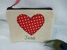 Fait main personnalisé coeur porte-monnaie choix de formulation rouge & lin Valentines