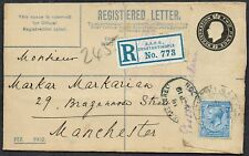 British Levant 1919 Registered to Manchester BRITISH.A.P.O./CONSTANTINOPLE CDS
