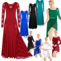 Ballroom Women Girls Tango Modern Dance Dress Ballet Asymmetric Lace Leotard