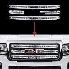 2015-2018 GMC Canyon Chrome Snap On Grille Overlays Front Grill 3 Bars Covers