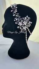 Bridal hair vine + back chains drapes  Freshwater pearls & Swarovski hairpiece