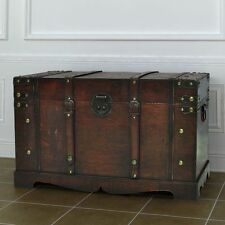 Vintage Large Wooden Treasure Chest Travel Chunk