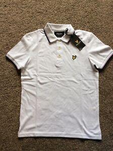 Bnwt Lyle & Scott Tipped Polo Shirt - White & Navy - Small
