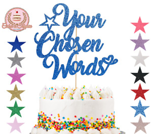 Personalised Glitter Cake Topper Any Word Customised Name Custom Birthday