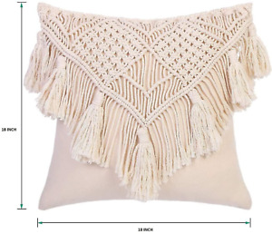 1 Pcs Throw Pillow Cover Macrame Cushion Case Decorative for Bed Sofa 18 inch