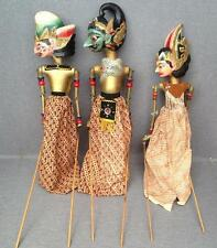 3 antique indonesian puppets 1930's made of painted wood 24'' tall