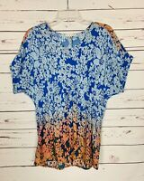 CAbi Women's S Small Floral Orange Blue Ombre Short Sleeve Top Shirt Blouse $79