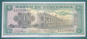 Guatemala 1 Quetzal 1965 Pick 52b UNC