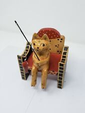 Indonesian / Balinese Handcrafted Wooden Cat Sitting on a Bench Fishing