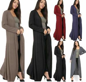 Ladies Womens Long Sleeve Full Length Open Front Boyfriend Maxi Cardigan UK8-24