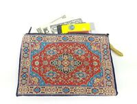 Large Coin Purse Tapestry Red Denim Turkish Rug Credit Card Cash Coin Pouch