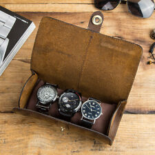 Watch Pouch Bag Soft Genuine Leather Watches Case Storage Travel Handmade Box