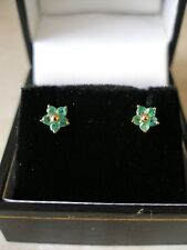 PAIR OF 9 CARAT GOLD EMERALD CLUSTER EARRINGS MADE IN ENGLAND BRAND NEW IN BOX