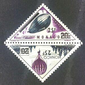 Monaco 377a Overprint Pair, Zeppelin & Balloon MH OG 1956