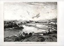 Stampa antica ROMA veduta panoramica località Acqua Acetosa 1876 Old print