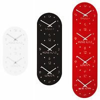 Roco Verre Acrylic Mirror Time Zone Wall Clock Range in Red or Black or White
