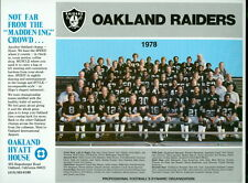 1978 Oakland Raiders 8.5 x 11 Team Photo From Hyatt House