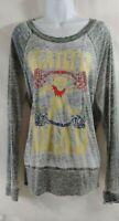 Grateful Dead Women's XL Graphic Gray Burnout Tee T Shirt Deady Bear Long Sleeve