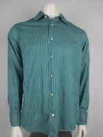 Banana Republic Mens Button Down Long Sleeve Green/White Striped Shirt Sz M EUC