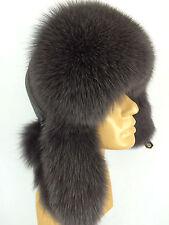 Natural Fox Fur Ushanka Hat With Leather. Saga Furs. Regular Women's Size. Gray