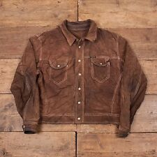 "Mens Vintage 90s Diesel Western Suede Leather Trucker Jacket Brown L 46"" R4588"