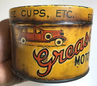 VERY RARE VINTAGE GREASO MOTOR GREASE 1 LB TIN CAR GARAGE PETROL OIL COBURG MELB