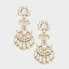 """LUSH Statement Gold Crystal BIG 2.75"""" Cocktail Bridal Earrings By Rocks Boutique"""
