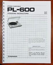 Pioneer PL-600 Turntable Owners Manual