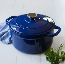 Lodge 5.5-Quart Enamled Cast Iron Dutch Oven Indigo Kitchen Cooking Cookware
