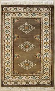 Rugstc 2x4 Bokhara Jaldar Brown Area Rug, Hand-Knotted,Geometric with Silk/Wool