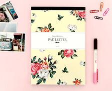 Beige-Flower Write Letter Pad stationary paper 9 Flowers Design Patterns Memopad