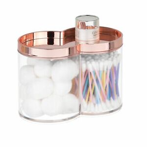 mDesign Plastic Bathroom Vanity Countertop Canister Jar, Lid - Clear/Rose Gold