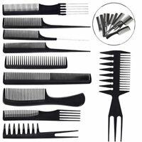 10pcs/Set Hair Styling Comb Professional Black Hairdressing Brush Salon Bar K7S4