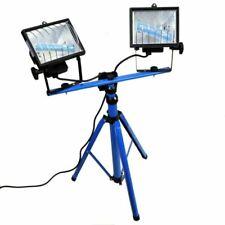 240v 500w Twin 2 Halogen Work Light Lamp Telescopic Tripod Stand SIL199