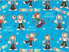 2 Sheets Gift Wrapping Paper HAPPY BIRTHDAY Boy Blue Kids Smiley Groovy Funky