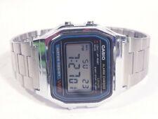 Men Casio Watch Digital Blue Acc 593 A158w Silver Steel Bracelet Face Chrono New
